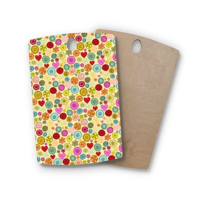 Jane Smith Birchwood Vintage Buttons Polkadot Cutting Board Shape: Rectangle