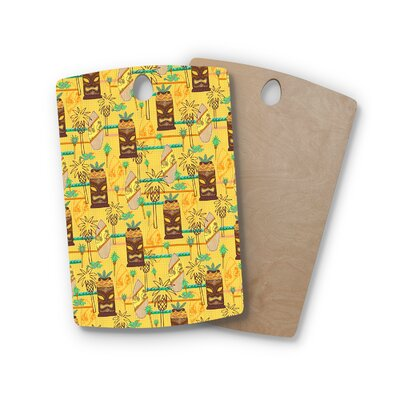 Jane Smith Birchwood Surfing Tiki Pattern Cutting Board Shape: Rectangle