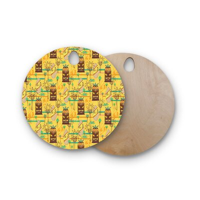 Jane Smith Birchwood Surfing Tiki Pattern Cutting Board Shape: Round