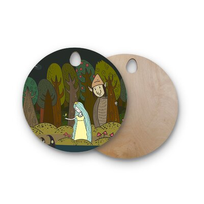Petit Griffin Birchwood Enchanted Forest Cutting Board Shape: Round