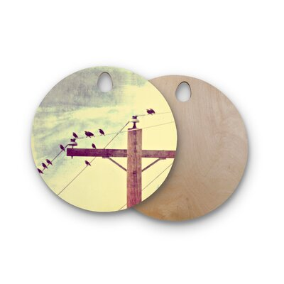 Sylvia Coomes Birchwood Vintage Birds on a Wire 2 Cutting Board Shape: Round