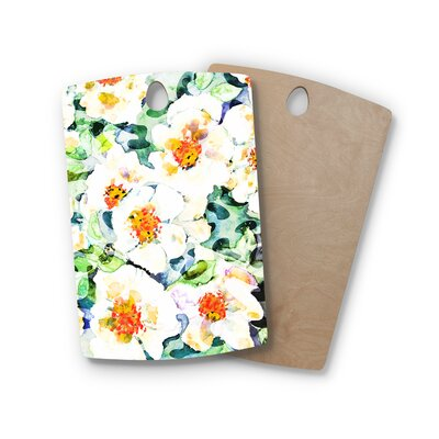 Birchwood Flowers Painting Cutting Board Shape: Rectangle