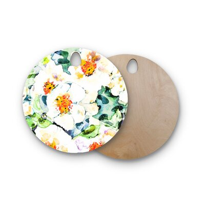 Birchwood Flowers Painting Cutting Board Shape: Round