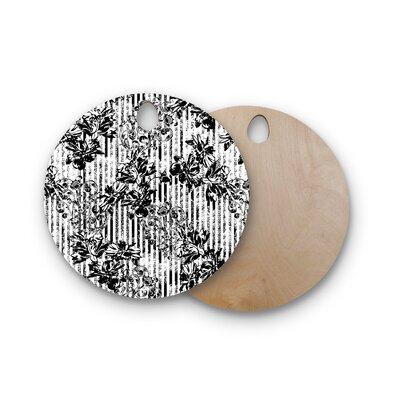 Victoria Krupp Birchwood Stripes and Flowers Digital Cutting Board Shape: Round