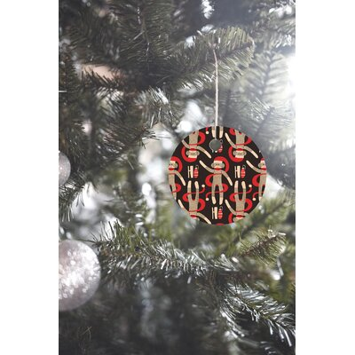 Heather Dutton Sock Monkey Santa Round Shaped Ornament