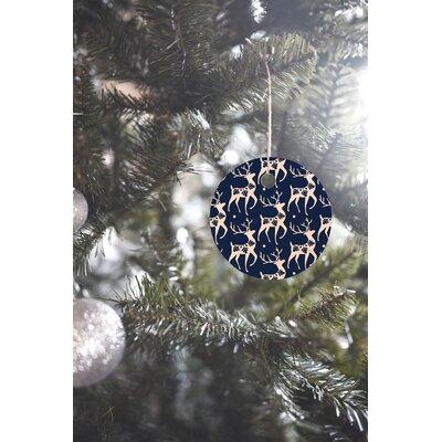 Heather Dutton Dashing Through the Snow Deer Round Shaped Ornament