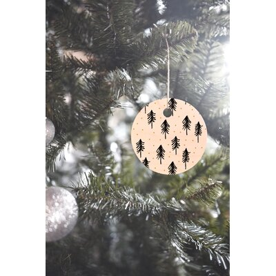 Little Arrow Design Co Winter Pines Round Shaped Ornament