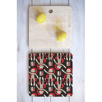 Heather Dutton Wood Sock Monkey Santa Cutting Board Shape: Square