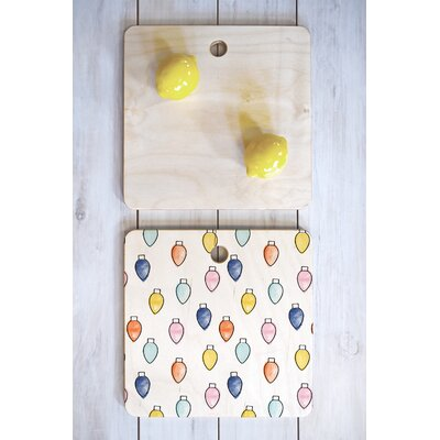 Wood Little Arrow Design Co Watercolor Holiday Lights Cutting Board Shape: Square