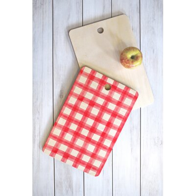 Wood Little Arrow Design Co Watercolor Buffalo Check Cutting Board Shape: Rectangle, Color: Red