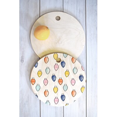 Wood Little Arrow Design Co Watercolor Holiday Lights Cutting Board Shape: Round