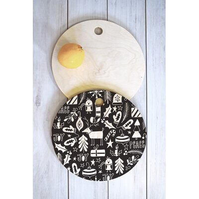 Heather Dutton Wood Peace And Joy Cutting Board Shape: Round
