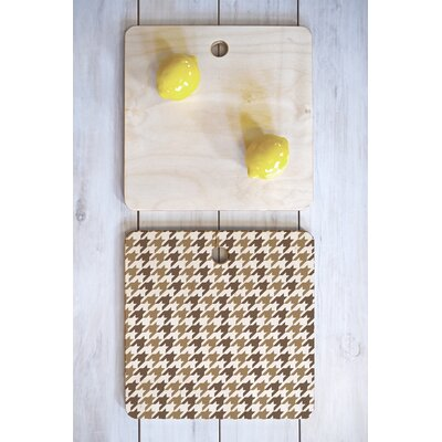 Allyson Johnson Wood Classy Houndstooth Cutting Board Shape: Square