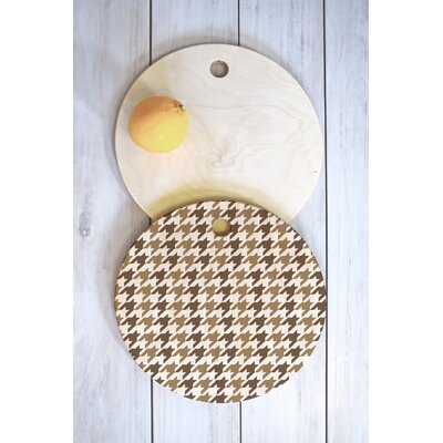 Allyson Johnson Wood Classy Houndstooth Cutting Board Shape: Round