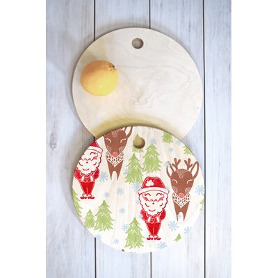 Dash And Ash Wood Best Bros From The North Pole Cutting Board Shape: Round