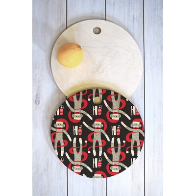Heather Dutton Wood Sock Monkey Santa Cutting Board Shape: Round