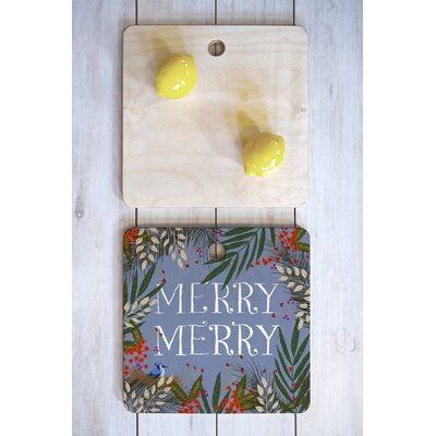 Joy Laforme Wood Christmas Merry Merry Wreath Cutting Board Shape: Square