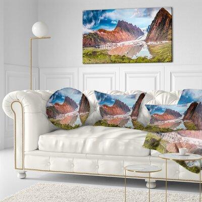 "Seashore Glacier and Lake at Sunrise Panorama Throw Pillow Size: 16"" x 16"""