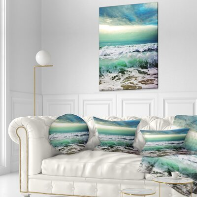 """Seashore Foaming Waves and Sky Throw Pillow Size: 16"""" x 16"""""""