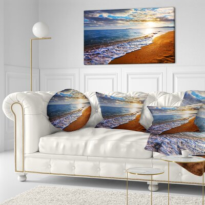 """Seashore Heavy Clouds over Morning Beach Throw Pillow Size: 16"""" x 16"""""""