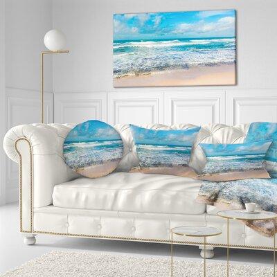 "Seashore Indian Ocean Panoramic View Throw Pillow Size: 16"" x 16"""