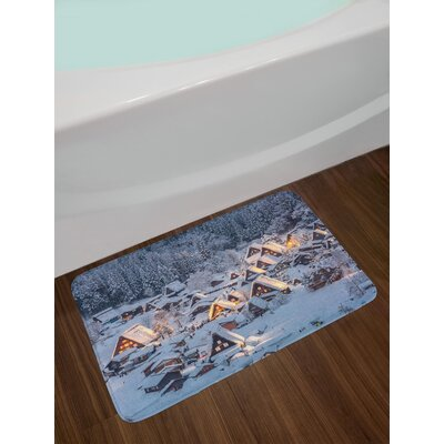 Asian Shirakawago Winter Bath Rug