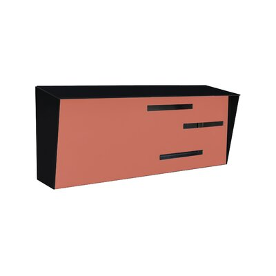 Modern Wall Mounted Mailbox Color: Black/Coral