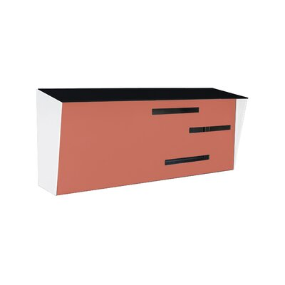 Modern Wall Mounted Mailbox Color: Black/Coral/White