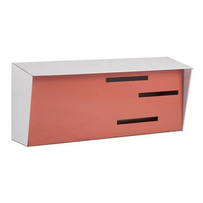 Modern Wall Mounted Mailbox Color: White/Coral