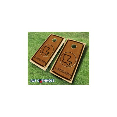 Louisiana Stained 10 Piece Cornhole Set Color: Red/Black