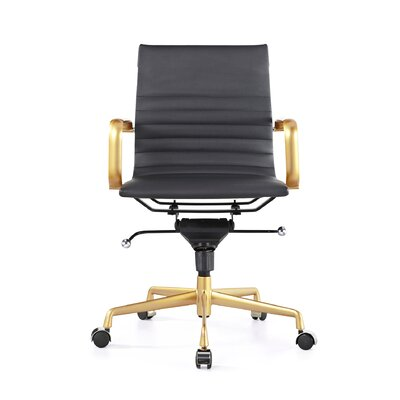 Decade Classic Aluminum High-Back Desk Chair Color: Black, Frame Finish: Gold