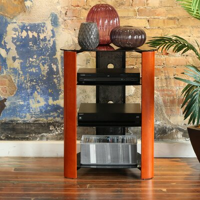 Audio Rack with Glass Shelves Color: Cherry
