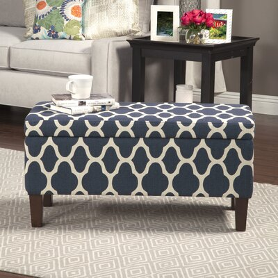 Clare Tokatli Upholstered Storage Bench Upholstery: Navy Blue