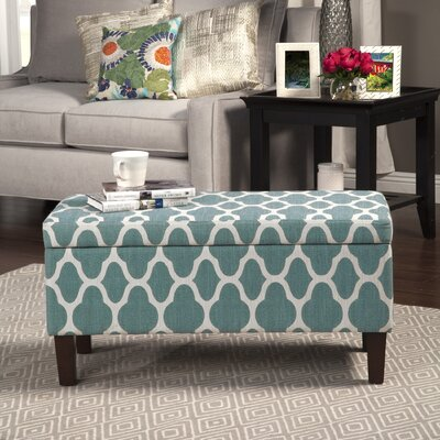 Clare Tokatli Upholstered Storage Bench Upholstery: Teal Blue