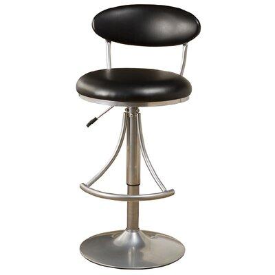 Elon Adjustable Height Swivel Bar Stool Upholstery: Black