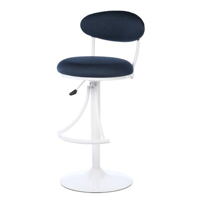 Elon Adjustable Height Swivel Bar Stool Upholstery: Denim