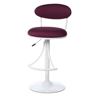 Elon Adjustable Height Swivel Bar Stool Upholstery: Plum
