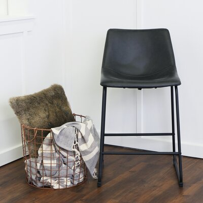 "Mary-Kate 24.38"" Bar Stool Color: Black, Upholstery: Whiskey Brown"