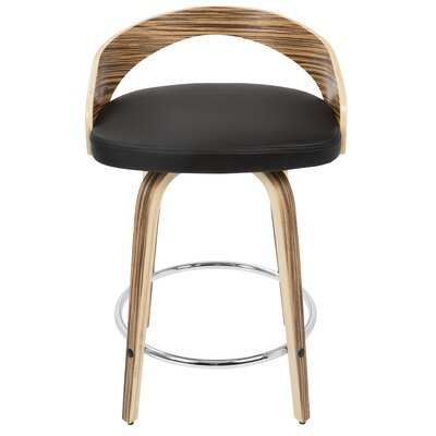 """Bridgett 24.25"""" Swivel Bar Stool Upholstery: Black, Frame Color: Zebra"""