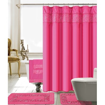 Elysee 18 Piece Embroidery Shower Curtain Set Color: Pink
