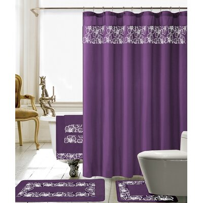 Elysee 18 Piece Embroidery Shower Curtain Set Color: Purple