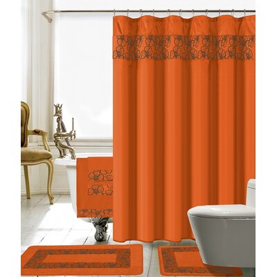Elysee 18 Piece Embroidery Shower Curtain Set Color: Orange
