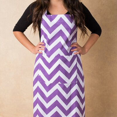 Contemporary Chef Apron Color: Purple / White