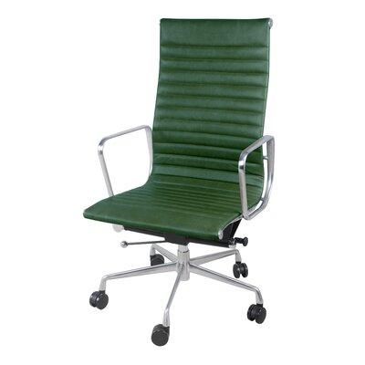 Boudreaux PU High Back Office Executive Chair Color: Vintage Asparagus Green