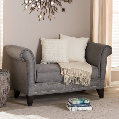 Gerhardine Upholstered Two Seat Bench Color: Gray