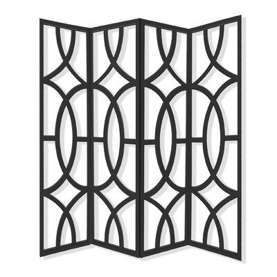 Zander 4 Panel Room Divider Color: Black