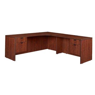 Linh Double Pedestal Credenza Right L-Shape Wood Corner Desk Finish: Cherry
