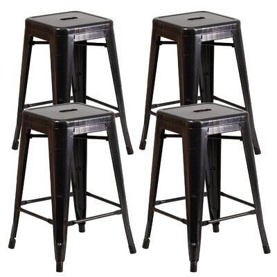 "Farwell Backless 24"" Bar Stool Color: Antique Black/Gold"