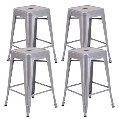 "Farwell Backless 24"" Bar Stool Color: silver"