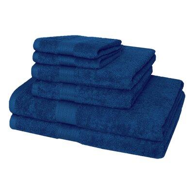 6 Piece 100% Cotton Towel Set Color: Navy